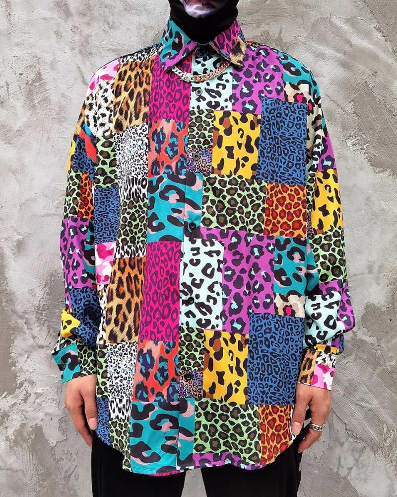 スーパーOBACHAN'Sマルチカラーパッチワークレオパード長袖シャツの画像1